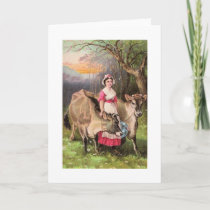 Vintage - Dairy Maid and Cows, Card