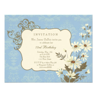 Vintage Daisies 70th-79th Elegant Birthday Party Personalized Invite