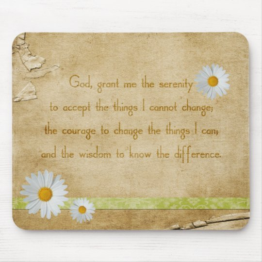 Vintage Daisies Serenity Prayer Mouse Pad