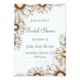 Vintage Daisies & Writing Bridal Shower Card