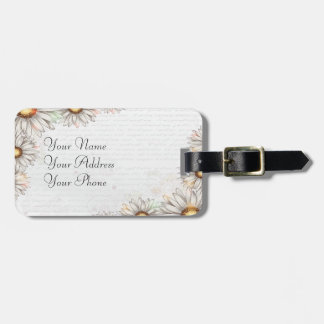 Vintage Daisies & Writing Luggage Tag