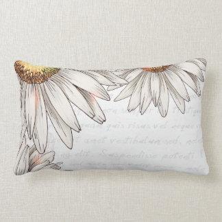 Vintage Daisies & Writing Throw Pillow