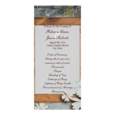 vintage daisy barn wood country wedding programs rack cards
