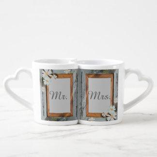 vintage daisy barn wood western country wedding coffee mug set