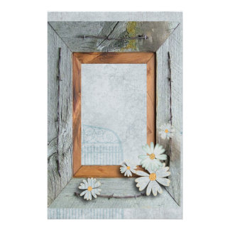 Vintage Daisy blue barnwood frame Country chic Stationery
