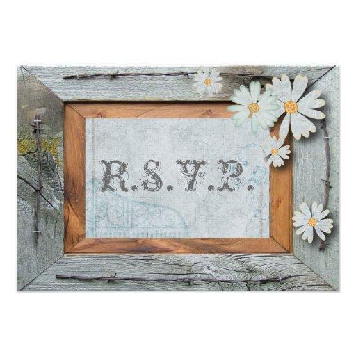 Vintage Daisy blue barnwood frame Country RSVP Custom Invite