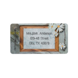 Vintage Daisy blue barnwood frame Country wchic Personalized Address Labels