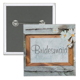 Vintage Daisy blue barnwood frame Country wedding 2 Inch Square Button