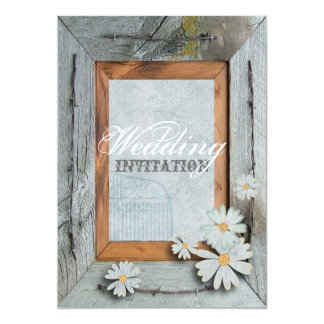 "Vintage Daisy blue barnwood frame Country wedding 5"" X 7"" Invitation Card"