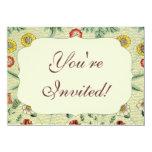Vintage Daisy Floral Pattern Designer Wallpaper Custom Invite