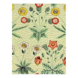 Vintage Daisy Floral Pattern Designer Wallpaper Postcard