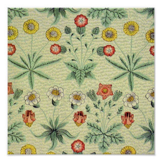 Vintage Daisy Floral Pattern Designer Wallpaper Poster