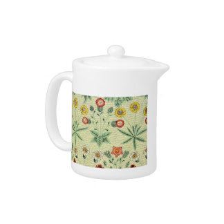 Vintage Daisy Floral Pattern Designer Wallpaper Teapot