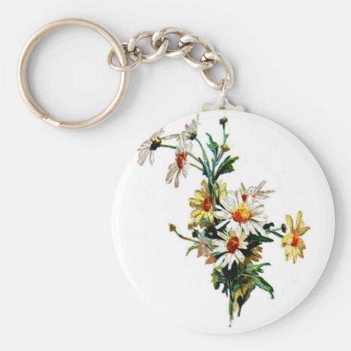 *Vintage Daisy* Flower Art Keychains