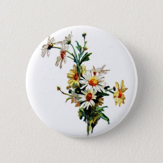 *Vintage Daisy* Flower Art Pinback Button