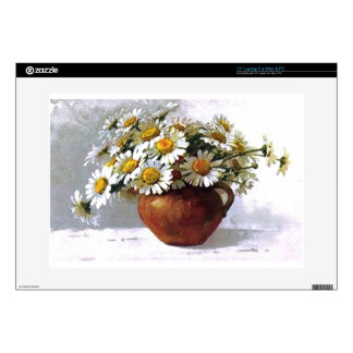 """Vintage Daisy Vase Decal For 15"""" Laptop"""