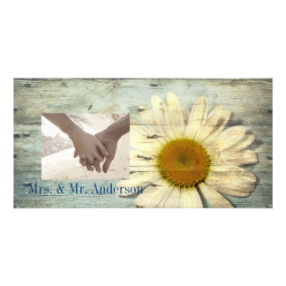 vintage daisy western country wedding thank you photo card