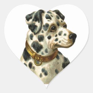 Vintage Dalmation Heart Sticker