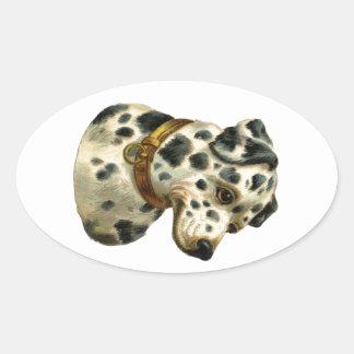 Vintage Dalmation Oval Sticker