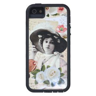 Vintage dama y sombrilla, rosas y cartas antiguas funda para iPhone SE/5/5s