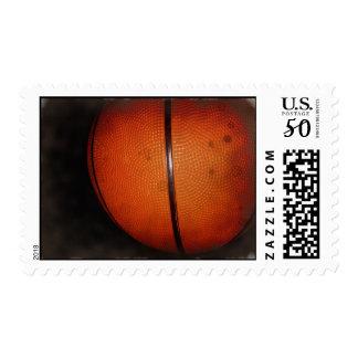 Vintage Damaged Old Photo Effect Basketball Stamp