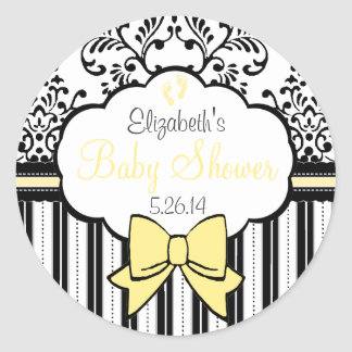 Vintage Damask and Stripes- Baby Shower Classic Round Sticker