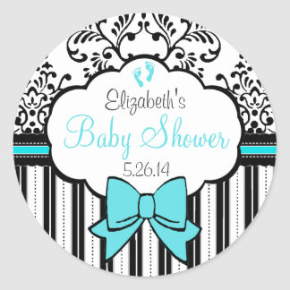 Vintage Damask and Stripes Blue Baby Shower Classic Round Sticker