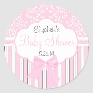 Vintage Damask and Stripes-Pink Baby Shower Classic Round Sticker