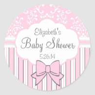 Vintage Damask and Stripes-Pink Baby Shower Round Sticker