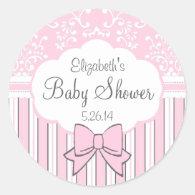 Vintage Damask And Stripes Pink Baby Shower Round Sticker