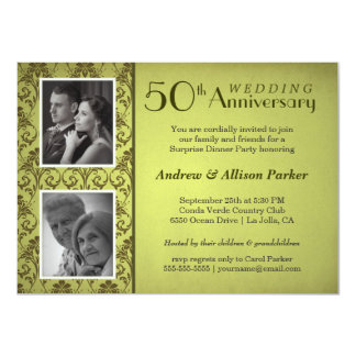 "Vintage Damask Anniversary Double Photo Invitation 4.5"" X 6.25"" Invitation Card"