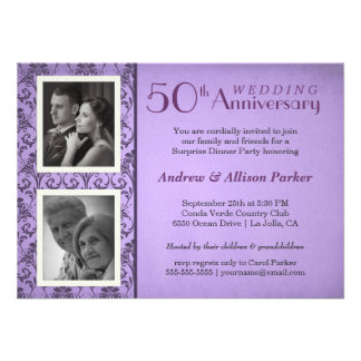 Vintage Damask Anniversary Two Photos Invitation