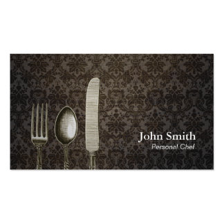 Vintage Damask Antique Silverware Personal Chef Business Cards