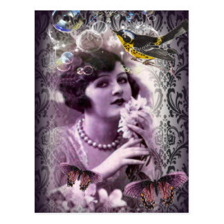 Vintage damask art deco gatsby Flapper Girl Postcard