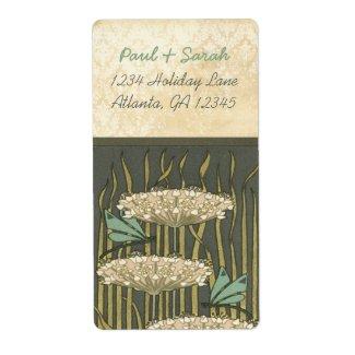 Vintage Damask Art Nouveau Dragonfly Lily Pads label
