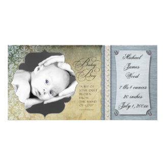 Vintage Damask Baby Boy Birth Announcement Photo Card Template