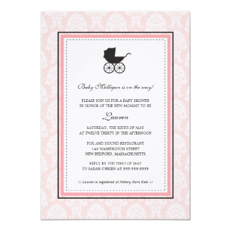 Vintage Damask Baby Carriage Baby Shower Card