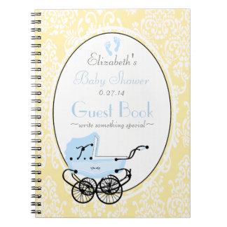 Vintage Damask-Baby Shower Guest Book- Spiral Note Books