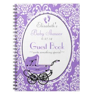 Vintage Damask-Baby Shower Guest Book- Spiral Notebooks