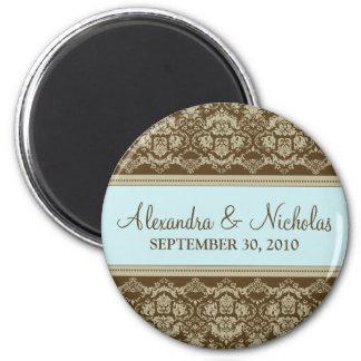 Vintage Damask Baroque Lace Wedding Favor: blue 2 Inch Round Magnet