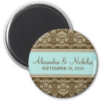 Vintage Damask Baroque Lace Wedding Favor: teal 2 Inch Round Magnet