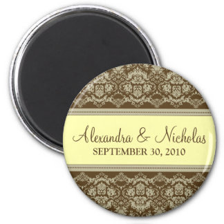 Vintage Damask Baroque Lace Wedding Favor: yellow 2 Inch Round Magnet