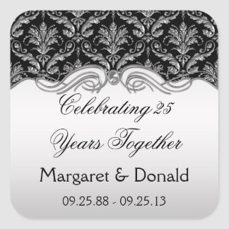 Vintage Damask Black and Silver 25th Anniversary Square Sticker