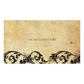 Vintage Damask Black Swirl Wedding Placecards Double-Sided Standard Business Cards (Pack Of 100)