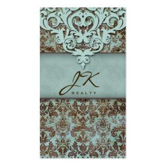 Vintage Damask Blue Elegant Crown Western Business Card Template