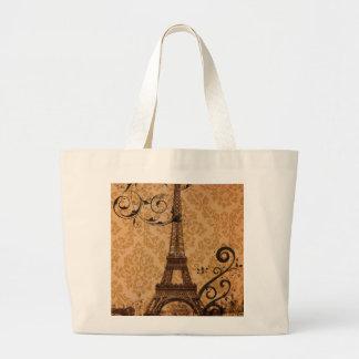 vintage damask Bohemian Chic Paris Eiffel Tower Large Tote Bag