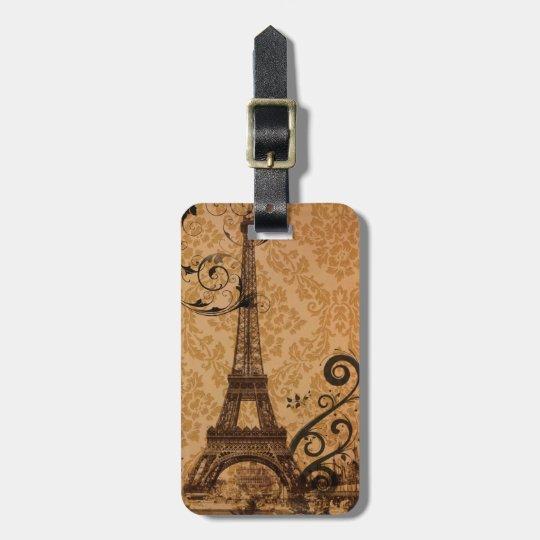 vintage damask Bohemian Chic Paris Eiffel Tower Luggage Tag