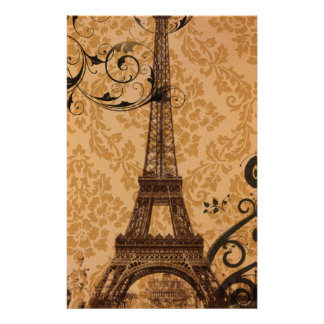 vintage damask Bohemian Chic Paris Eiffel Tower Stationery