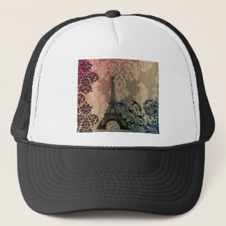 vintage damask Bohemian Chic Paris Eiffel Tower Trucker Hat