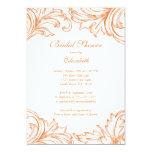 Vintage Damask Bridal Shower Invitation Coral